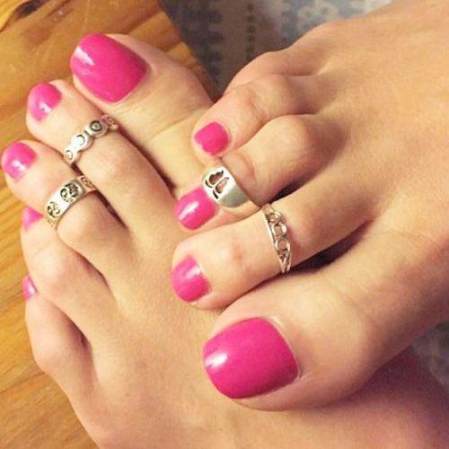Pink toenail polish