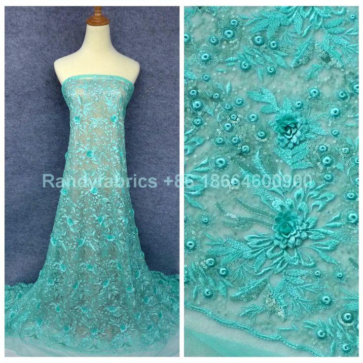 Новый зеленый / персик handmake бисером 3D цветы платье кружевной ткани 51 '' ширина со дворакупить в магазине Hong Kong Sino Garment Accessories Co., LtdнаAliExpress