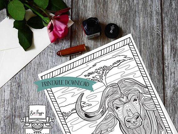 Coloring Page - African Animal - Cape Buffalo // INSTANT DOWNLOAD // Manifestation and Meditation Colouring Page