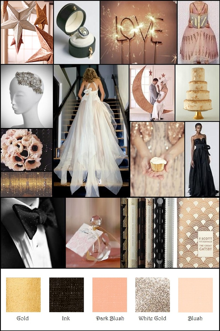 Vintage Glam Blush Black Gold Champagne Inspiration Board