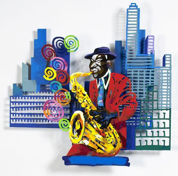 """Saxophonist #Jazz - 2004, 35"""" x 35"""" in, Wall Sculpture By #DavidGerstein - #HorizonArts #Miami #ArtGallery #Wynwood #Urban #Jazzandthecity http://www.davidgerstein.us/portfolio/saxophonist/"""