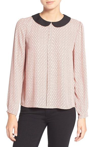 CeCe 'Scallop Flower' Contrast Collar Print Blouse available at #Nordstrom
