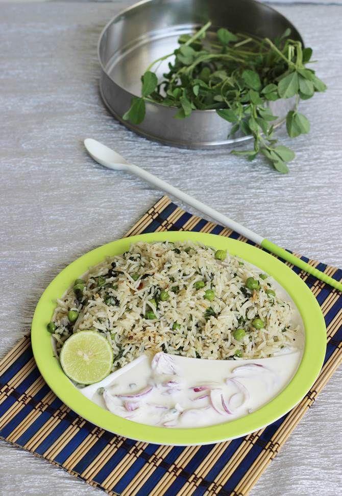 Methi pulao recipe - How to make methi pulao - Methi rice