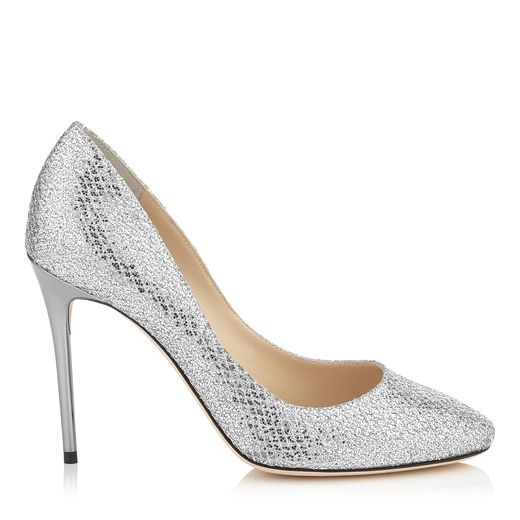 JIMMY CHOO Esme 100 Silver Glitter Fabric Round Toe Pumps. #jimmychoo #shoes #s