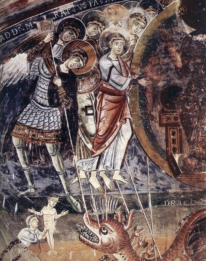 ROMANESQUE PAINTER, Italian The Fight with the Dragon (detail), c. 1090 Fresco at San Pietro al Monte, Civate