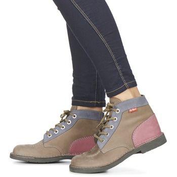 Kickers KICK COL Marron / Rose - Livraison Gratuite avec Spartoo.com ! - Chaussures Boots Femme 98,99 €