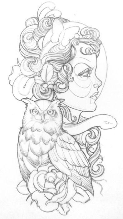 owl/gypsy tattoo design