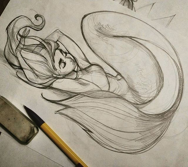 Sketch of mermaid, different pose than what you typically see, I like it