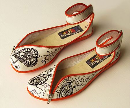 Tooco illustrated flats with zipper detail and orange trim.. (I mean c'mon... these HAD to have been created just for me!) =)