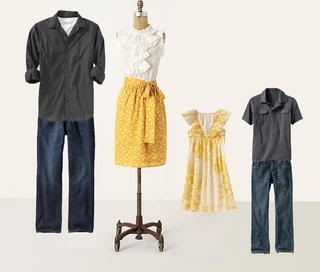 Gray and yellow coordinating outfits for family photos.