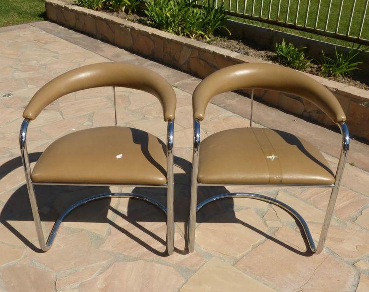 Pair Of Thonet Anton Lorenz Chrome Chairs Vintage Mid