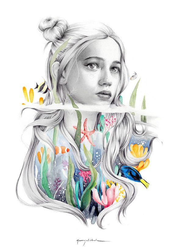 Chica coral. Ilustración. por naranjalidad en Etsy