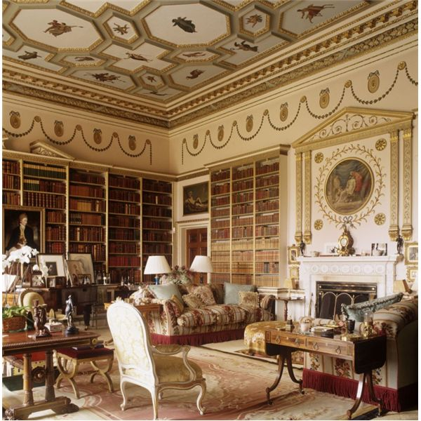 The Large Library (now Used As A Sitting Room) At Goodwood House, Seat Of  The Duke Of Richmond, Painted Panels From The . Part 75