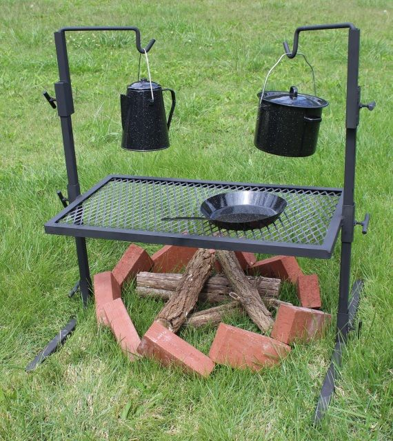 Fully adjustable grill, large to fit over most firepits, hangers adjust separately. Breaks down to fit inside grate for easy transport.Pots not included.18in x 32in