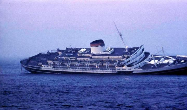 Andrea Doria, after colliding with a Sweedish liner, became the first passenger ship to sink on live television.