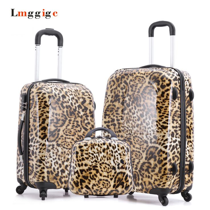Leopard Print Design Carry-Ons,Rolling Luggage Set,Child Women Gift Lovely Suitcase,ABS Travel Bag,Universal wheel Trolley box