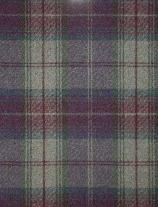 Woodford Plaid Wool tartan fabric in mauve, green and beige