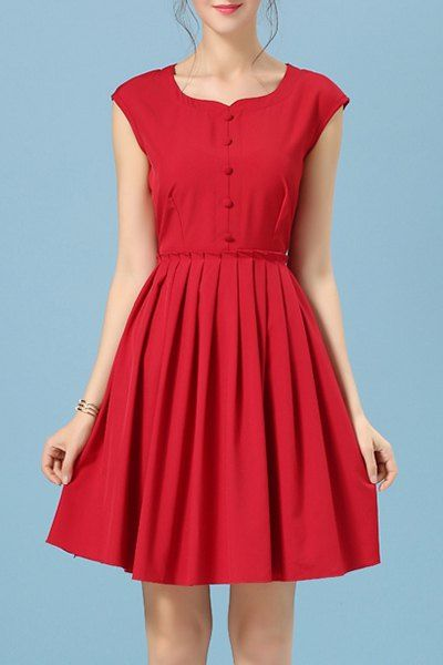 Retro Women's Scoop Neck Candy Color Sleeveless Dress