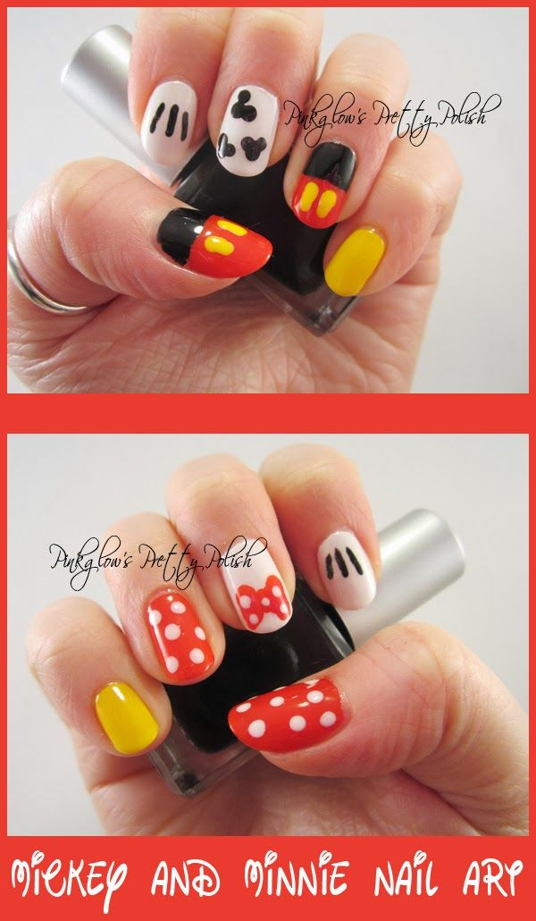 Mickey and Minnie Mouse nail art. So cute! #nails