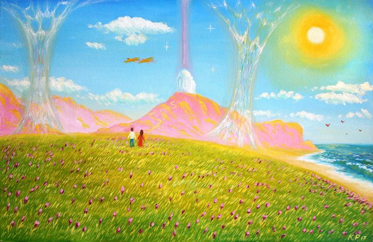 🍀 Энергии Дома 🍀   (Грунтованный холст-картон, масло. Размеры 40*60) Жизнь в ином измерении, наполненной безусловной Любовью.