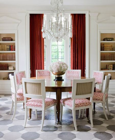 A #traditional dining room with a round table and chairs in red, white and grey: Fabulous French, Dining Rooms, Decor Ideas, Patterns Floors, Round Tables, Chairs Back, Cheryl Tagu, Red Accent, Elegant Dining