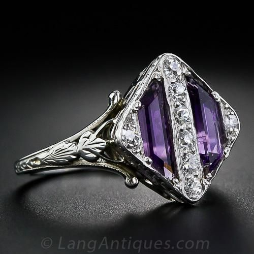 Art Deco Amethyst and Diamond Ring - circa 1930's