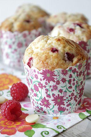 Witte chocolade frambozen muffins