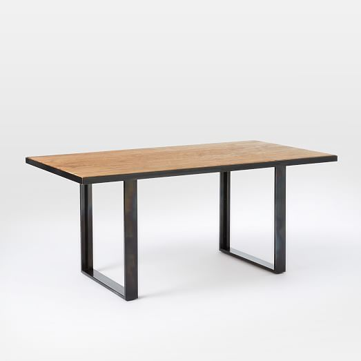 West Elm Rustic Kitchen Table: Industrial Oak + Steel Dining Table