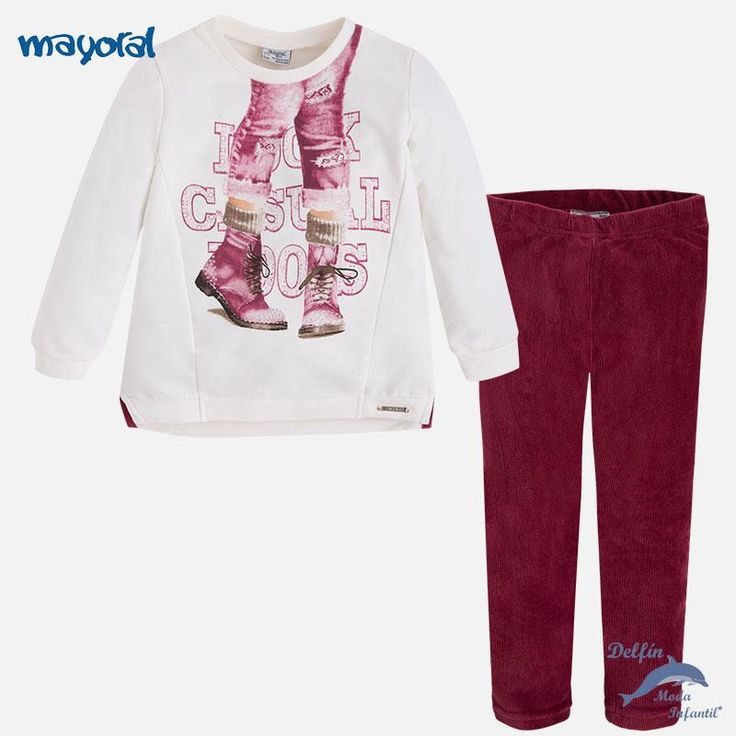 """Conjunto de niña MAYORAL de pullover """"piernas"""" y leggings de micropana"""