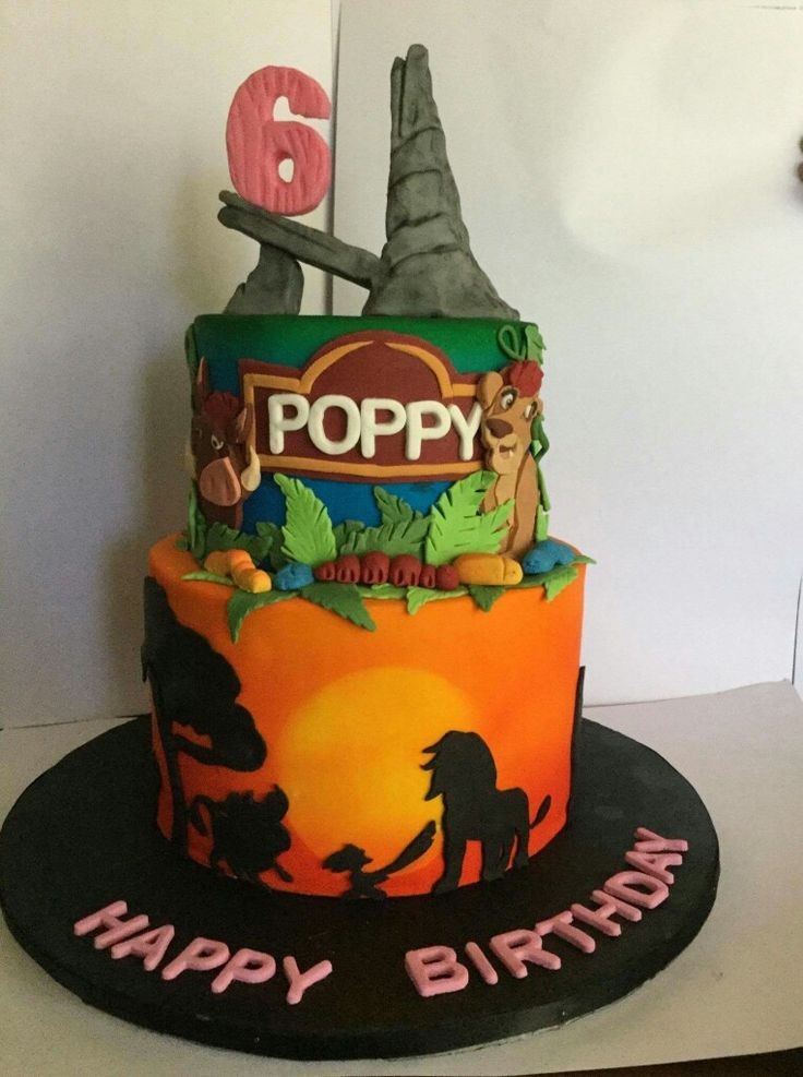 Lion king 6th birthday cake. Simba, pumbaa, kion,  pride rock, sunset, jungle.