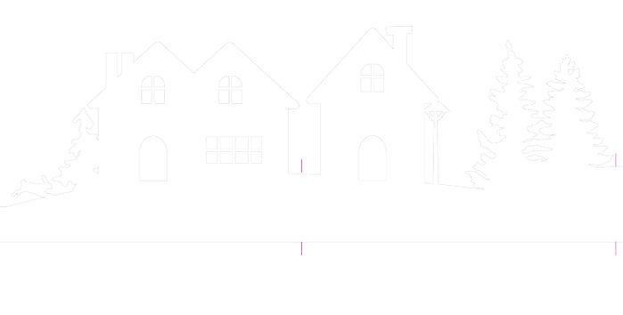 Зимняя деревня из бумаги. Шаблоны для распечатки (5) (700x354, 11Kb)