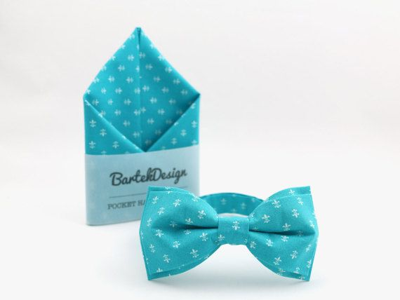 Turquoise Bow Tie & Pocket Handkerchief by by BartekDesign on Etsy
