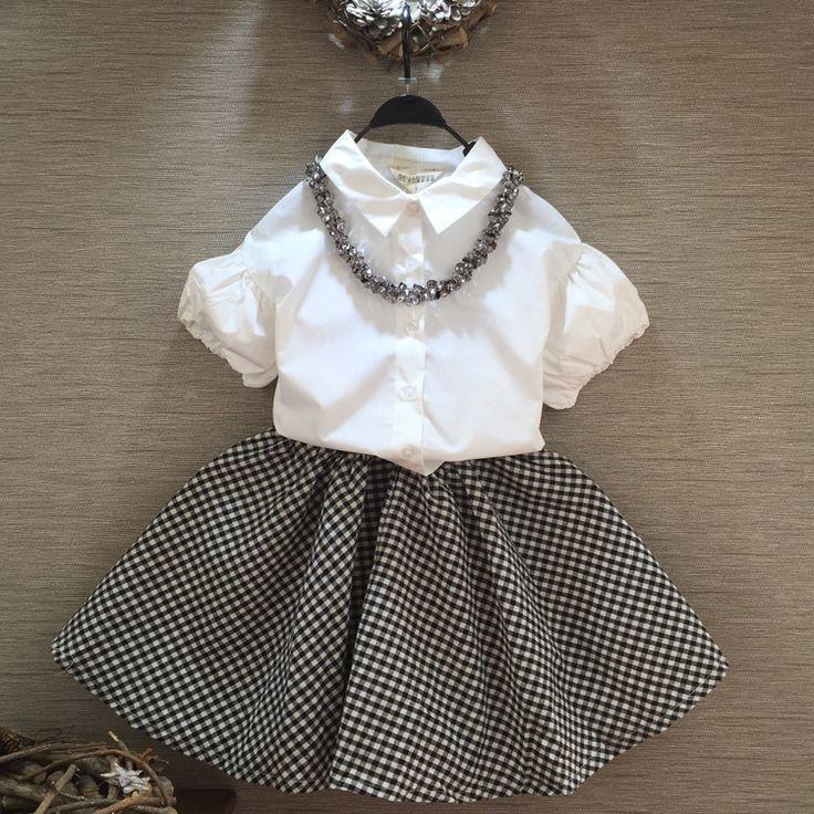Купить товарНовый 2016 летом пуховкой рукавом блузка + клетчатые юбки 2…