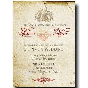 Music Wedding Invitation - Vintage Wedding Invitation, Rustic Wedding invitation, Printable Invitation