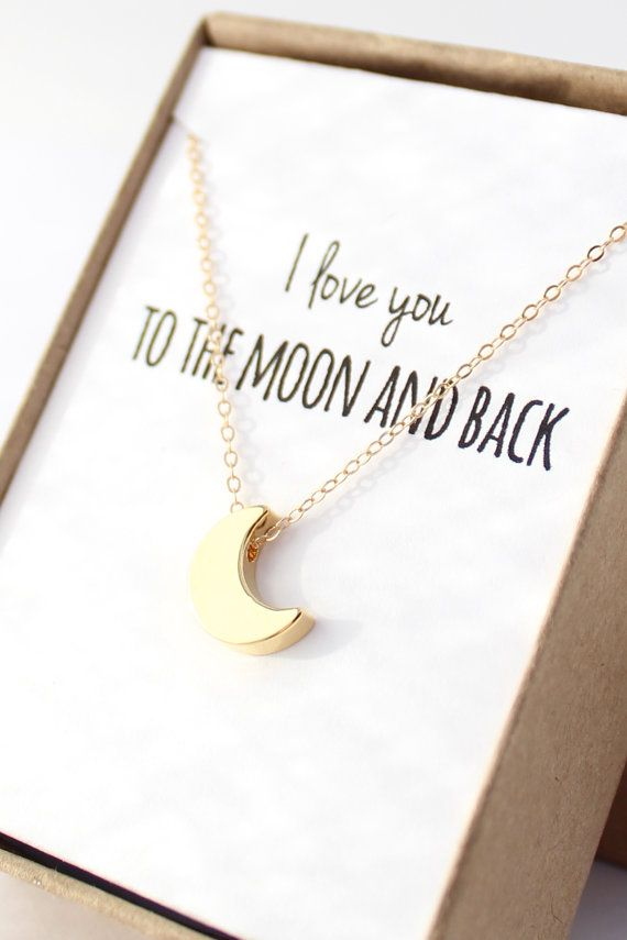 Gold Moon Necklace - Tiny Moon Necklace - Delicate Gold Necklace - Dainty Small Necklace - Valentines Day GIft