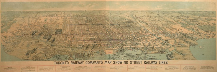 """1892 Toronto Railway Company's Map Showing Street Railway Lines """"This bird's-eye view illustrates streetcar service provided by the Toronto Railway Company shortly after it took over operations in 1891. In spite of continued city growth, the company refused to extend its single-fares, build new lines or buy additional cars to service the area beyond the city limits of 1891. This inflexibility eventually led to the establishment of the publicly-owned Toronto Transportation Commission in…"""