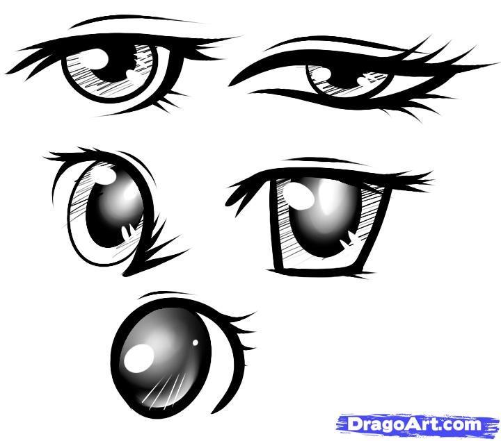 Step 13 of drawing Japanese anime eyes | Cartoon eyes ...