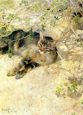 Bruno Andreas Liljefors (1860-1939, Swedish) - THE GREAT CAT