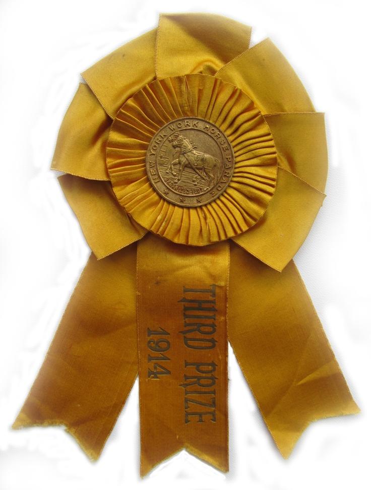 1914 New York Horse Parade brass & silk ribbon $75.00
