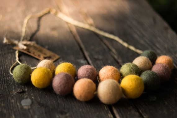 Needle Felted Wool Beaded Statement Necklace in Green and Yellow Shades, Merino Wool Colorful Beads Felted Light Jewellery