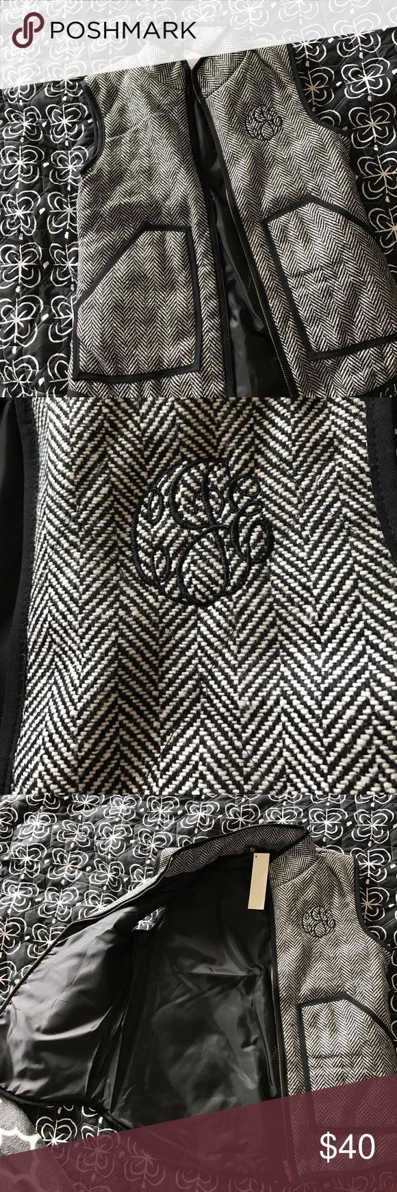 Gorgeous NWT Houndstooth vest NWT Boutique Gorgeous black and white houndstooth vest! I bought this for my aunt and they accidentally shipped two. It does have initials embroidered on it (from left to right initials are CJE) so if those are your initials, or the initials don't bother you then this is perfect! The inside has beautiful good quality lining. Looks amazing with riding boots  Jackets & Coats Vests