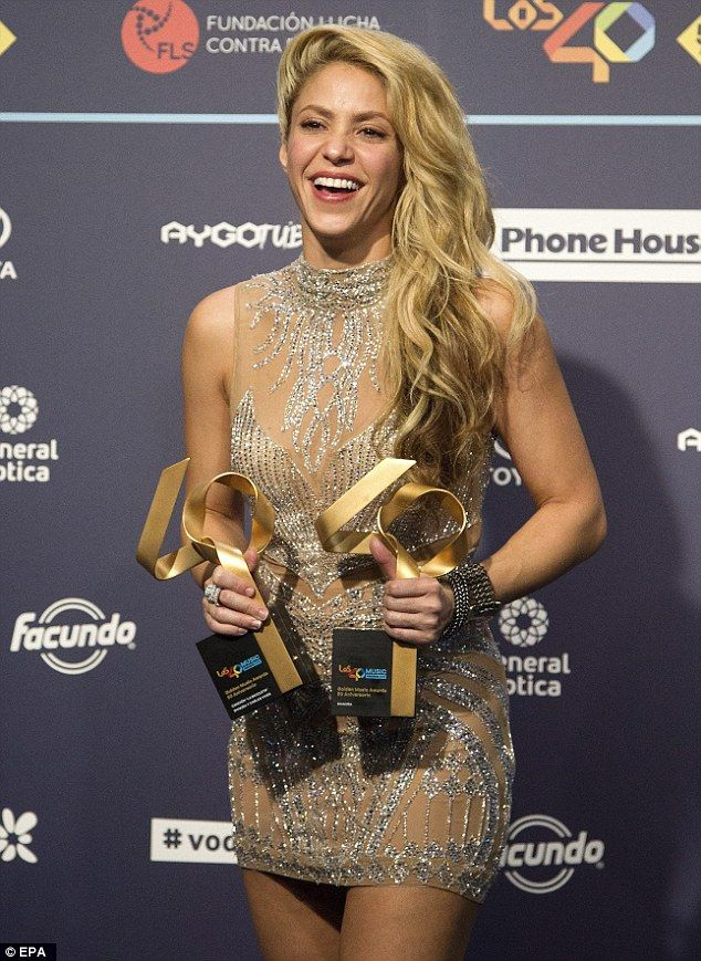 Congrats: Shakira was honoured with two Golden Music Awards as she attended the 50th anniversary gala of the Radio Channel 40 Principales held at Sant Jordi Palace of Barcelona on Thursday