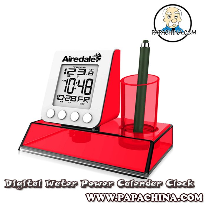 The Digital Water Power Calendar Clock is both useful, and well made. Constructed with acrylonitrile butadiene styrene (abs) plastic, polystyrene (PS) plastic, it is they type of marketing tool that will impress your clients and potential customers with its quality, durability, and of course your company brand.
