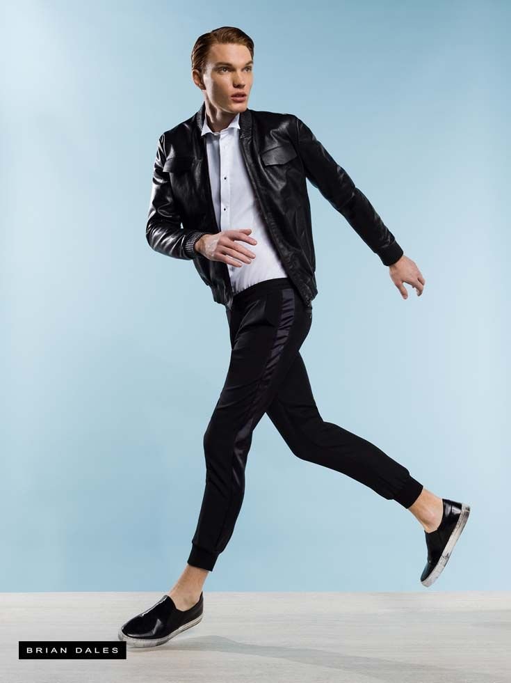 #BRIANDALES #MAN #COLLECTION #SS2016, leather jacket, pants in sweatshirt with satin panel on side and cuffs to the ankle.