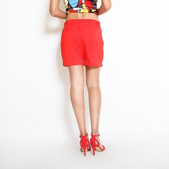Red Shorts Womens Shorts Womens Pants Summer by ElianaStudio