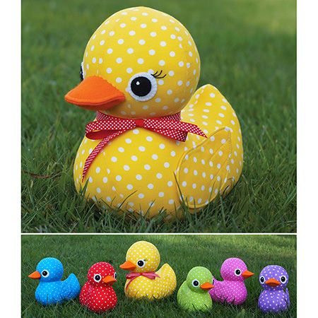 "Five little ducks went out one day, over the hill and far away Mother duck said ""Quack, quack, quack, quack.""But only four little ducks came back.These cute and colourful ducks are a perfect way to use up those gorgeous bright spots.  Using a fat quarter of fabric each, they are also a great way to use up that stash.  The fabric options are endless, but I personally love this spotty rainbow family!This pattern is suitable for sewers of all skill levels.Completed size: Mummy Duck is approx…"