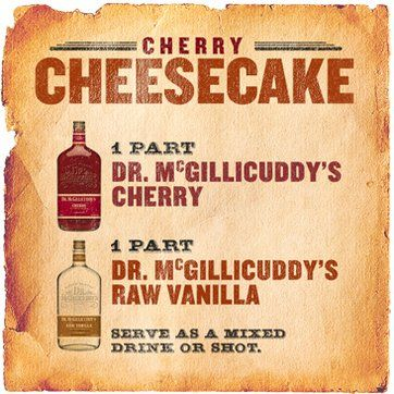 1 part Dr. McGillicuddys Cherry, 2 part Dr. McGillicuddys Vanilla, Serve as a chilled shot or over ice.  Or equal parts cranberry juice and McGillicuddys French Kiss ✔✔