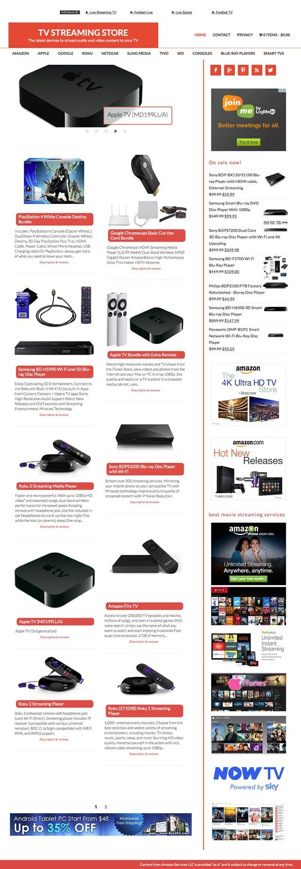 Streaming media players store!! Just Netflix and YouTube together make up half of all Internet traffic. There is and will be a huge demand for media streaming devices, accessories and content providers. This is the hottest niche in the already hot electronics. The site covers every brand from Amazon TV to Apple TV to Roku, Chromecast,and even non specific streaming devices such as the hugely popular consoles Xbox, PS4 and Wii... television sets and Blue-ray players are also included.