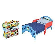 Mickey Mouse Toddler Bed Plus Organizer by Delta. $114.76. Give your child's room a fun-filled makeover without making any permanent changed with the Disney's Mickey Mouse Room in a Box. This adorable set includes everything you need to outfit your little one's room, including storage and organizational pieces all featuring Disney's Mickey Mouse character. The complete Room in a Box comes with all the furniture your little one will adore.Toddler Bed: 2 removable bed rails...