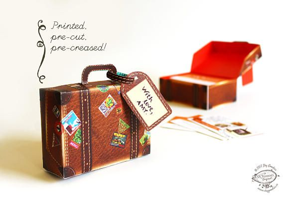 /// Listing for Physical Ready-to-use DIY Kit. No scissors or knife required. /// On popular demand, heres a little well-travelled suitcase in a realistic brown leather finish, complete with luggage tag! Use it to store your business cards, knick-knacks or use as party favor boxes. This